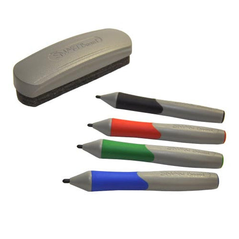 Replacement Pens and Eraser - Set of Four (Black, Red, Blue, Green)
