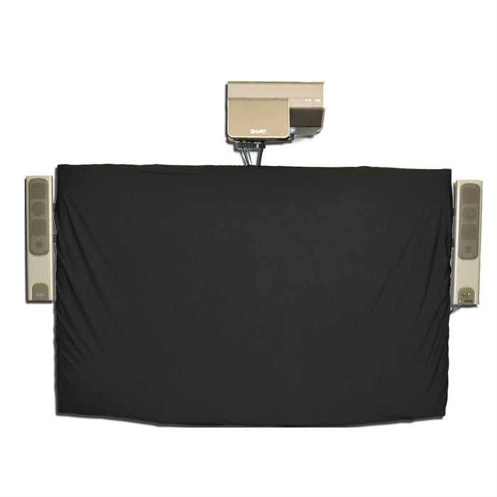 Black nylon weighted cover for SMARTBoards Can be used with wall mounted boards or floor stands Designed for SMART Technologies.