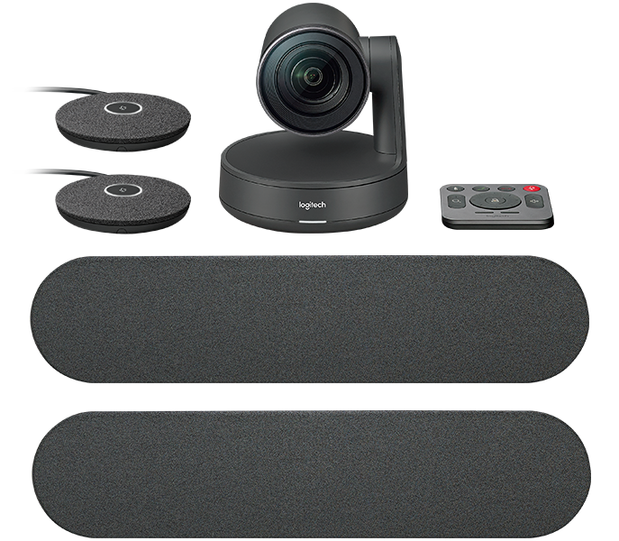 Logitech Rally Plus conferencing system with two mic pods and 2 speakers