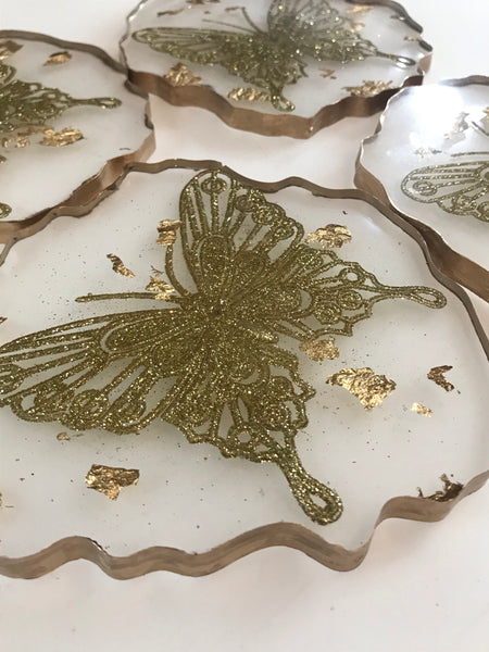 Set of 4 Golden Butterfly & Gold Leaf Drinks Coasters