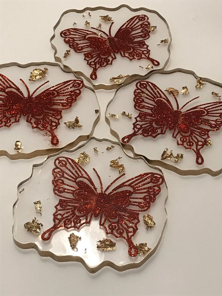 Christmas Theme Butterfly Drinks Coaster Set with Gold Leaf Edging