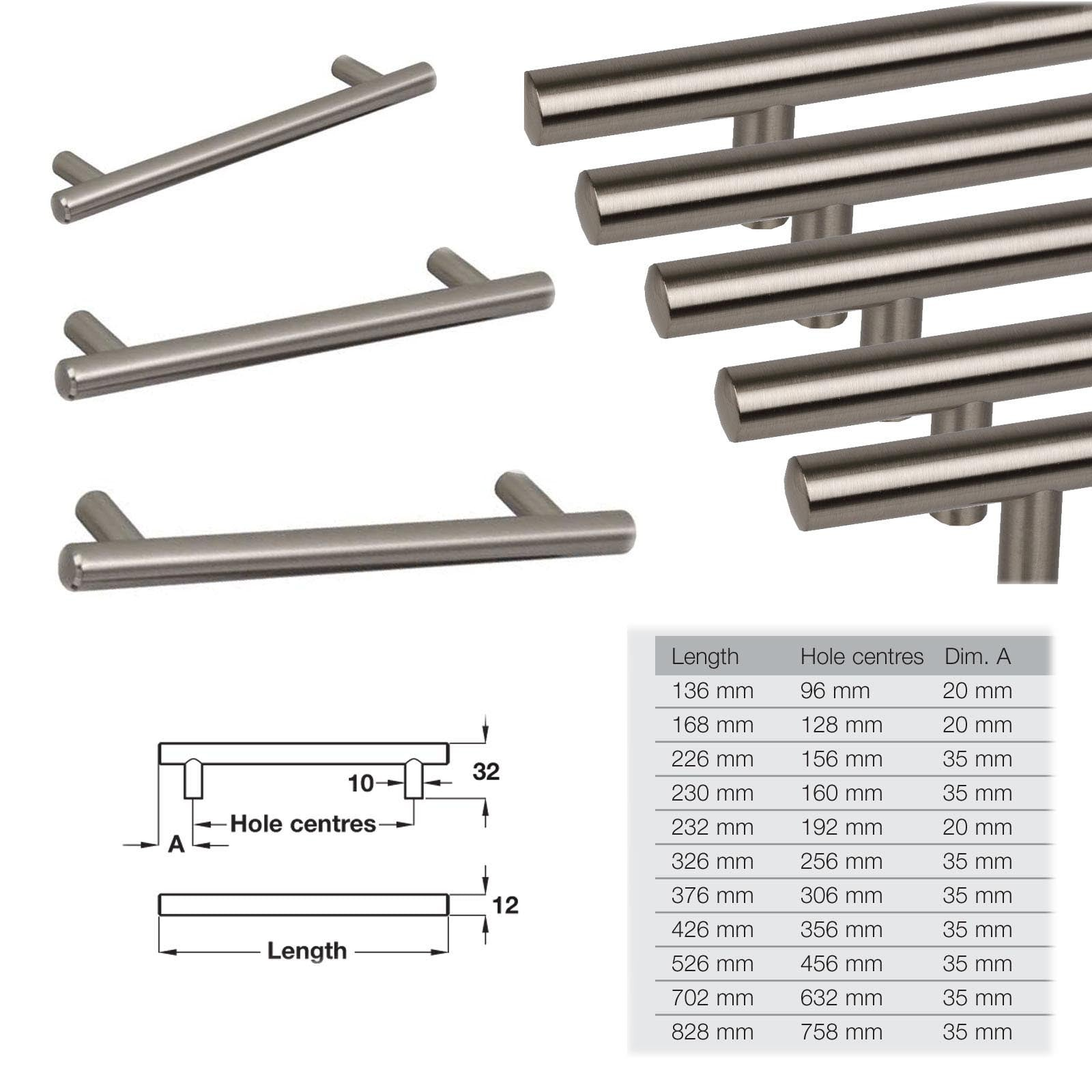 Solid Steel T Bar Kitchen Cabinet Door Handles