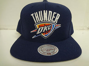 Oklahoma City Thunder Cap Mitchell & Ness Snapback Navy Wool Flat Brim Hat NBA