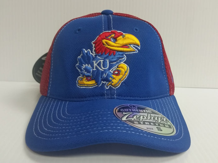 Kansas Jayhawks Cap Zephyr Stretch Fit Fitted Rally 2 Mesh Hat NCAA