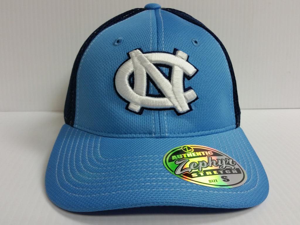 North Carolina UNC Tar Heels Cap Zephyr Stretch Fit Fitted Rally 2 Mesh Hat NCAA