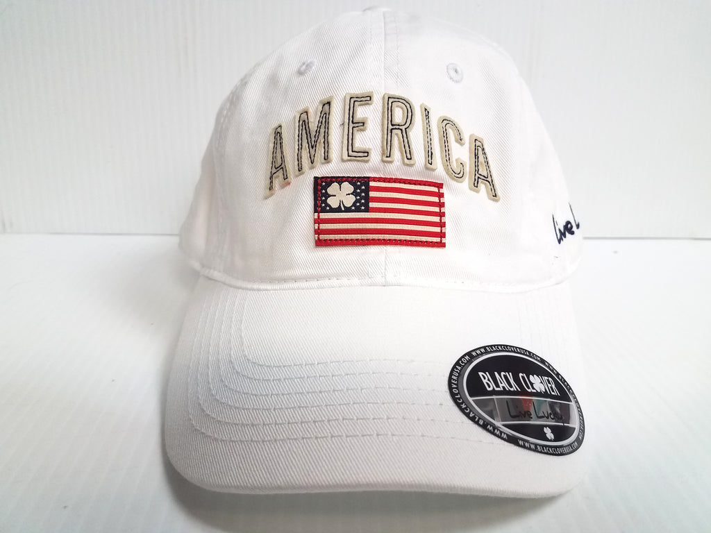 American Flag Black Clover Cap Vintage America Crew 1 White Adjustable Golf Hat Live Lucky