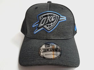 Oklahoma City Thunder Cap New Era 9Forty Adjustable Black Shaded Front Hat