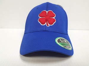 Kansas Jayhakws Black Clover Cap Lucky Premium Blue Stretch Golf Hat NCAA