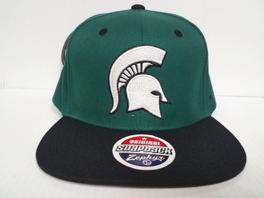 Michigan State Spartans Zephyr Cap Flat Brim Snapback Z11 Static Hat NCAA