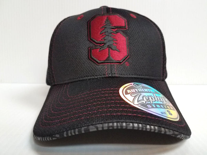 Stanford Cardinal Cap Zephyr Stretch Fit Fitted Black Mesh Undertaker Hat NCAA