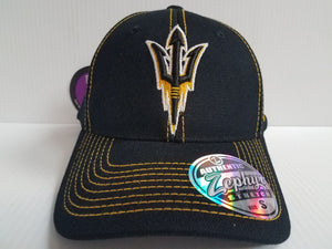Arizona State Sun Devils Cap Zephyr Stretch Fit Fitted Black Finisher Hat NCAA