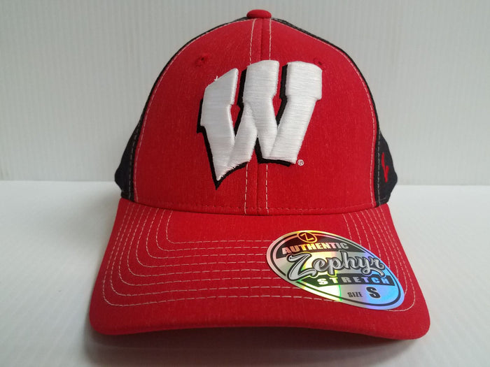 Wisconsin Badgers Cap Zephyr Stretch Fit Fitted Heathered Clash Hat NCAA