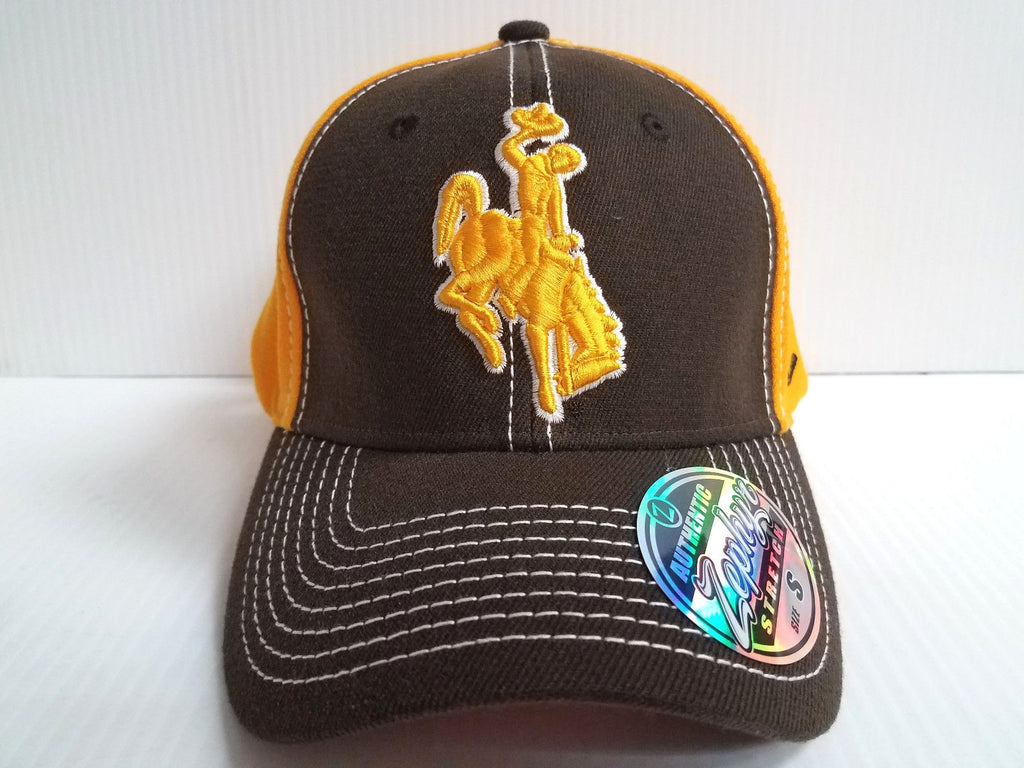 Wyoming Cowboys Cap Zephyr Stretch Fit Fitted Chute 2 Tone Hat NCAA