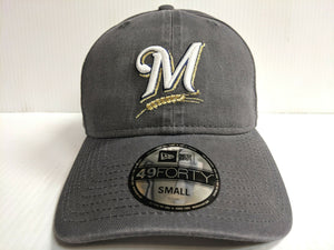 Milwaukee Brewers New Era Cap 49Forty Core Fit Fitted Unstructured Gray Hat MLB