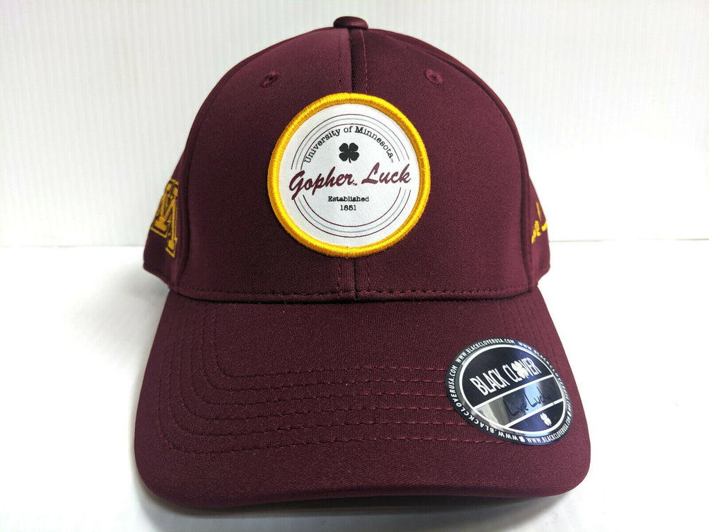 Minnesota Gophers Black Clover Cap Patch Luck Hook Loop Adjustable Golf Hat