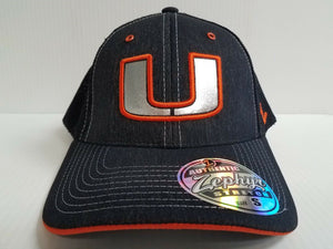 Miami Hurricanes Cap Zephyr Stretch Fit Fitted Mesh Headlight Foil Hat