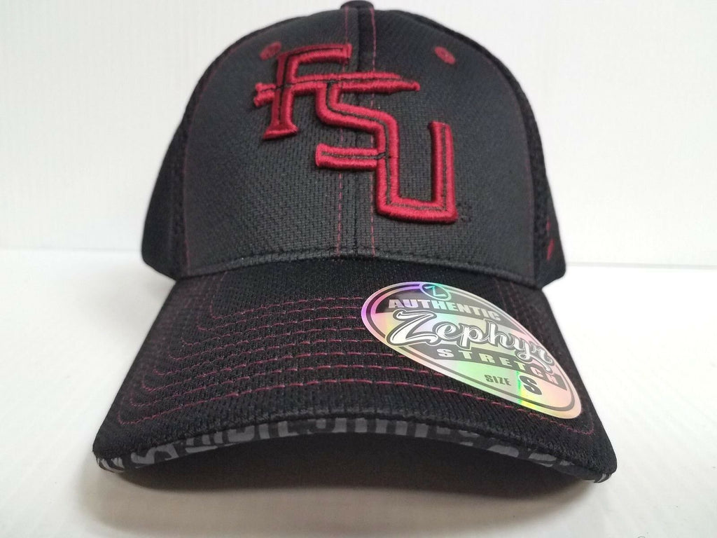 Florida State Seminoles Cap Zephyr Stretch Fit Fitted Black Mesh Undertaker Hat
