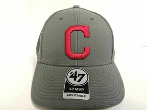 Cleveland Indians 47 Brand Cap Hook & Loop Adjustable Gray MVP Hat MLB
