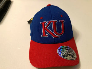 Kansas Jayhawks Cap Zephyr Blue Pregame 2-Tone Mesh Stretch Fit Fitted Hat