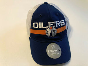 Edmomton Oilers Reebok NHL Center Ice Stretch Fit Mesh Hat