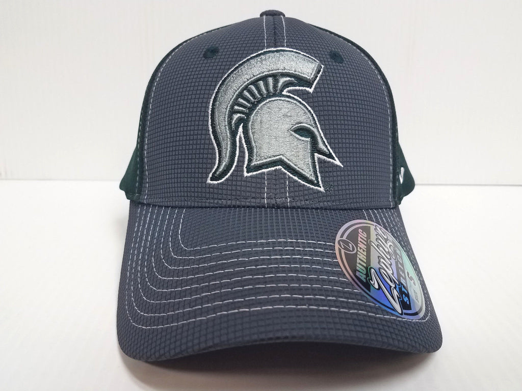 Michigan State Spartans Cap Zephyr Stretch Fit Fitted Grid 2 Tone Hat NCAA