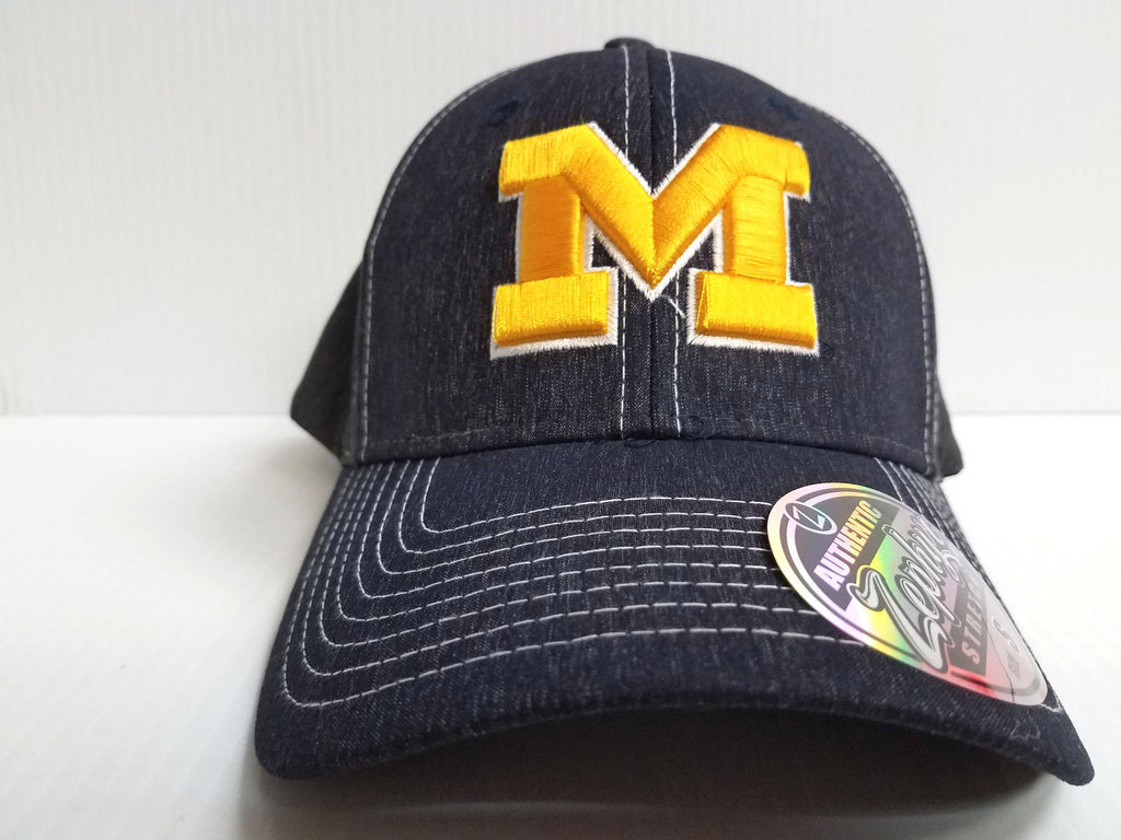 Michigan Wolverines Cap Zephyr Stretch Fit Fitted Heathered Dusk Hat NCAA