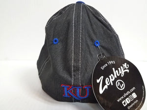 Kansas Jayhawks Cap Zephyr Stretch Fit Fitted Heathered Dusk Hat NCAA