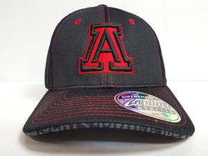 Arizona Wildcats Cap Zephyr Stretch Fit Fitted Black Mesh Undertaker Hat NCAA