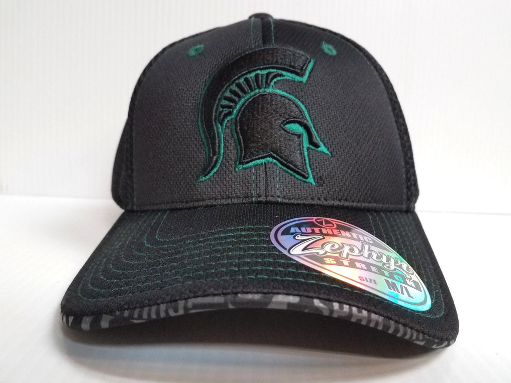 Michigan State Spartans Cap Zephyr Stretch Fit Fitted Black Mesh Undertaker Hat
