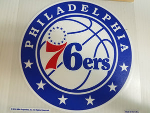 Philadelphia 76ers Colored Window Die Cut Decal Wincraft Sticker 8x8 NBA