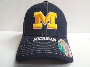 Michigan Wolverines Cap Zephyr Stretch Fit Fitted Center Court Heathered Hat