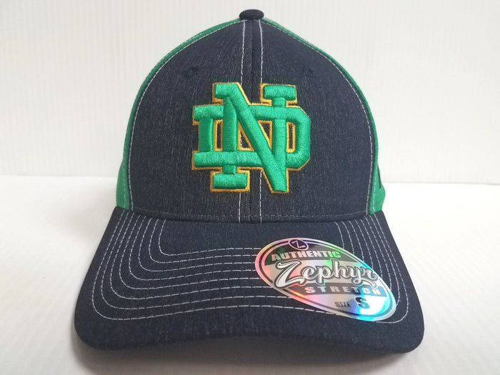 Notre Dame Irish Cap Zephyr Stretch Fit Fitted Heathered Clash Hat NCAA