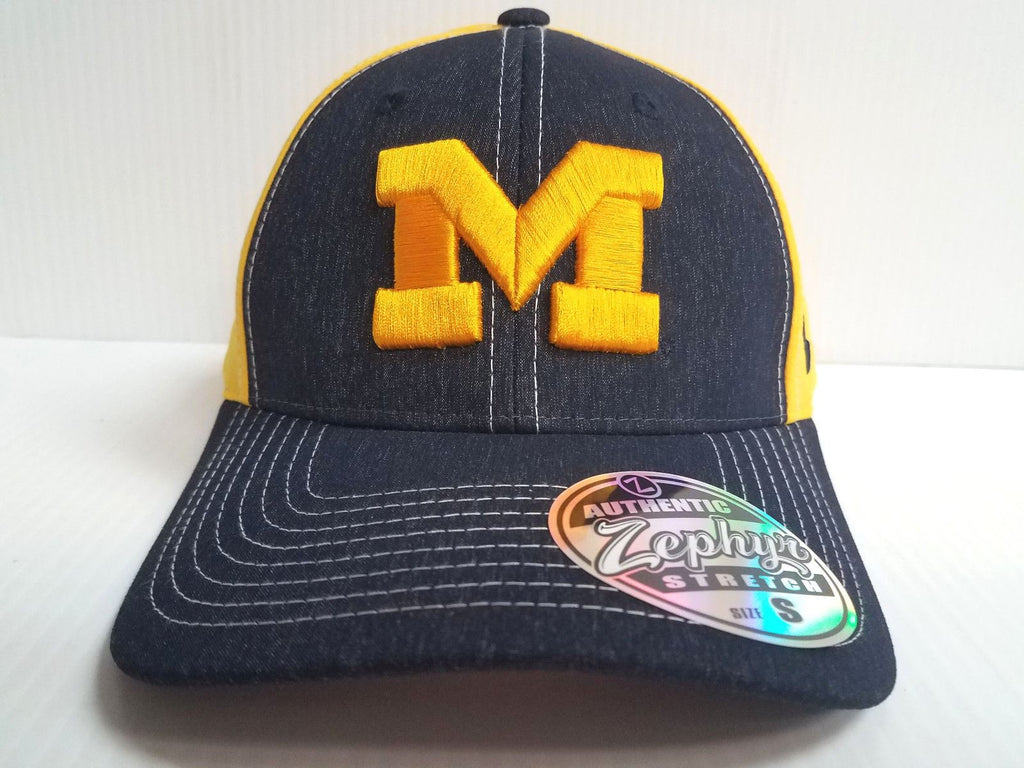 Michigan Wolverines Cap Zephyr Stretch Fit Fitted Heathered Clash Hat NCAA
