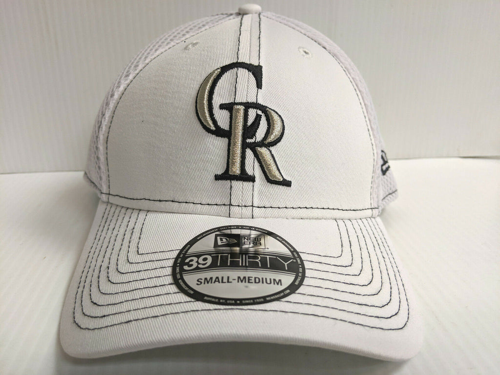 Colorado Rockies Cap New Era 39Thirty Stretch Fit Mesh White Team Neo Hat
