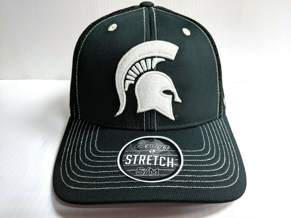 Michigan State Spartans Cap Zephyr Green Pregame 2 Mesh Stretch Fit Fitted Hat