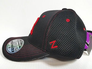 Rutgers Scarlet Knights Cap Zephyr Stretch Fit Fitted Black Mesh Undertaker Hat