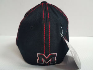 Mississippi Rebels Ole Miss Cap Zephyr Stretch Fit Fitted Black Finisher Hat