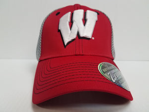 Wisconsin Badgers Cap Zephyr Stretch Fit Fitted Pregame Mesh Hat NCAA
