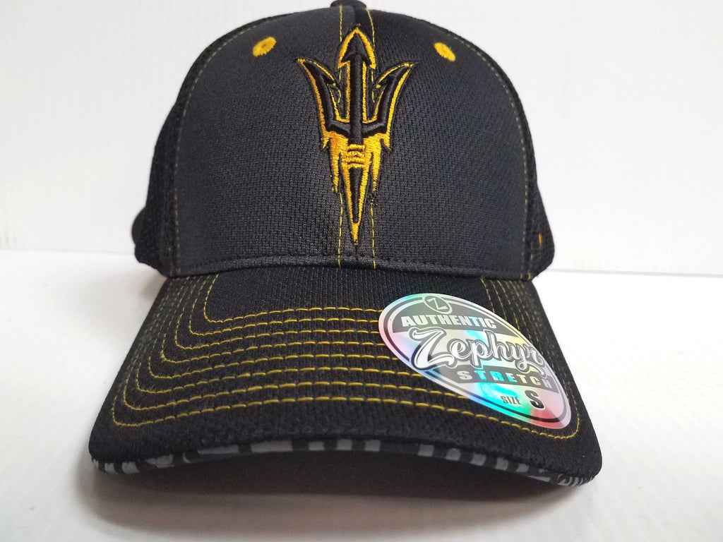 Arizona State Sun Devils Cap Zephyr Stretch Fit Fitted Black Mesh Undertaker Hat
