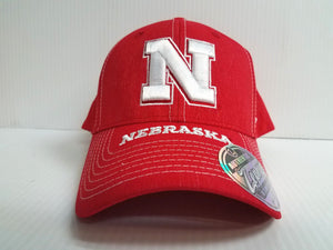 Nebraska Huskers Cap Zephyr Stretch Fit Fitted Center Court Heathered Hat