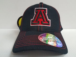 Arizona Wildcats Cap Zephyr Stretch Fit Fitted Black Finisher Hat NCAA