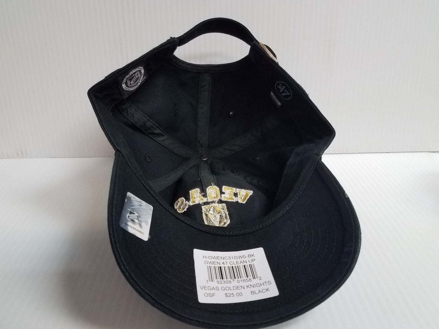 6e8ea72cf1afc Vegas Golden Knights Adjustable Cap Strapback 47 Brand Black Clean Up Dad  Hat