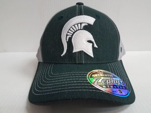 Michigan State Spartans Cap Zephyr Stretch Fit Fitted Heathered Clash Hat NCAA