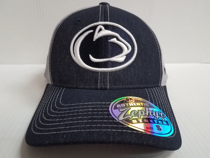 Penn State Nittany Lions Cap Zephyr Stretch Fit Fitted Heathered Clash Hat NCAA