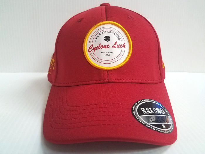 Iowa State Cyclones Black Clover Cap Lucky Patch Hook Loop Adjustable Golf Hat