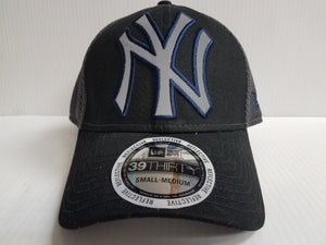New York Yankees Cap New Era 39Thirty Stretch Fit Black Megaflect Hat MLB