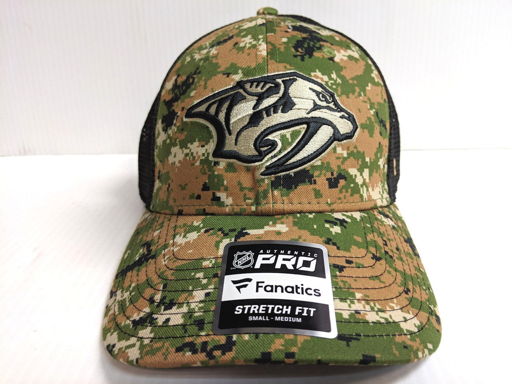Nashville Predators Cap NHL Authentic Pro Mesh Camo Stretch Fit Fitted Hat
