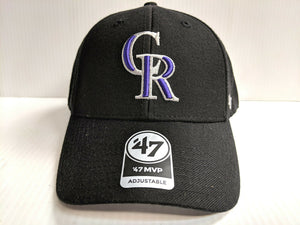 Colorado Rockies 47 Brand Cap Hook & Loop Adjustable Black MVP Hat MLB