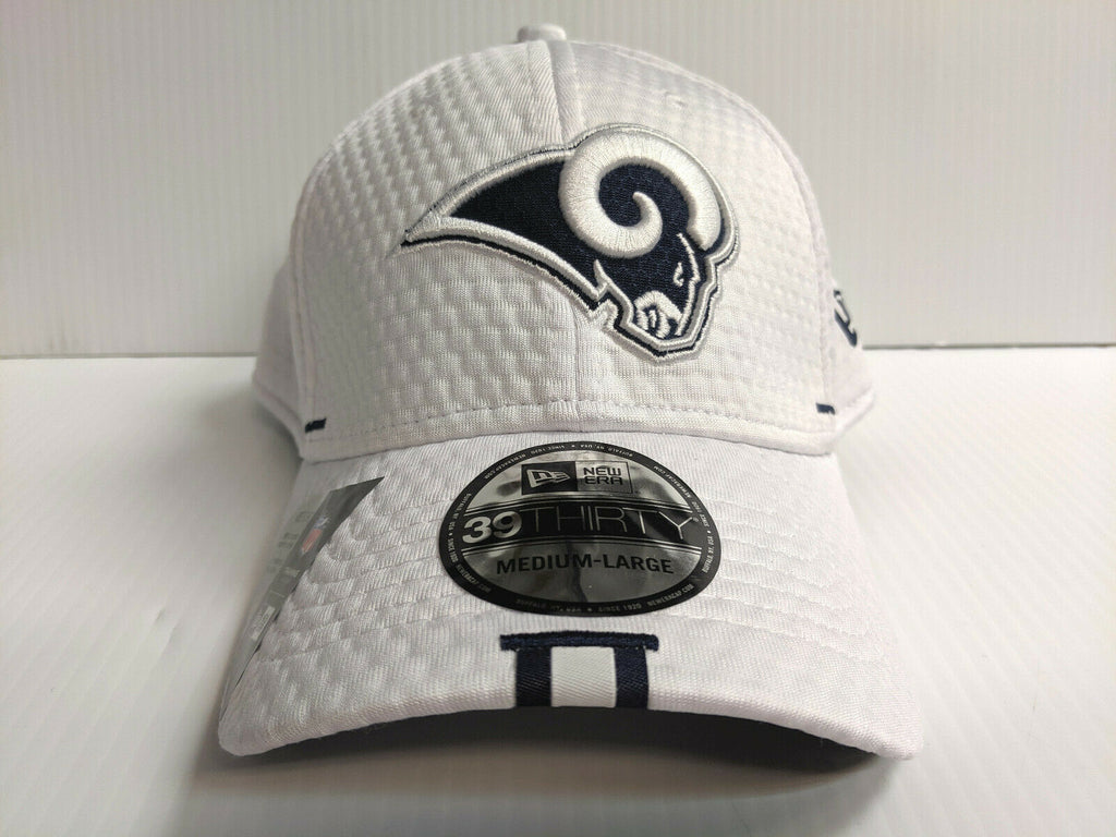 Los Angeles Rams Cap New Era 39Thirty Stretch Fit Hat White 2019 Training Camp