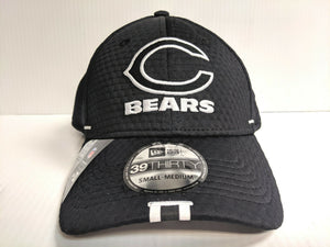 Chicago Bears Cap New Era 39Thirty Stretch Hat Black 2019 Training Camp